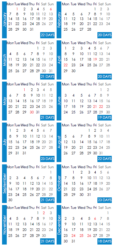 Working Days Calendar 2019 Working days calendar   Edenred